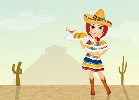 mexican food plate: Mexican girl Stock Photo