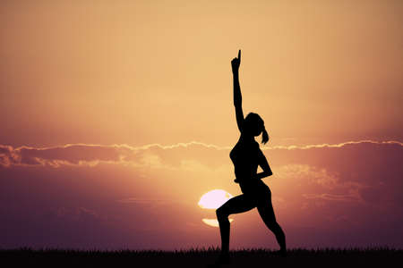 body balance at sunset
