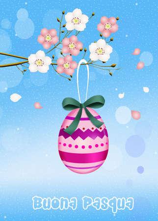 peach tree: Easter egg on peach tree