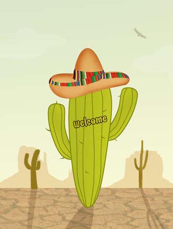 arid: cactus with sombrero in the desert Stock Photo