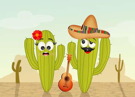 arid: cactus couple in the desert
