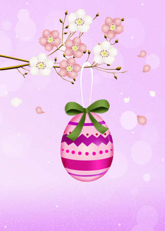 outdoor event: Easter egg on peach tree