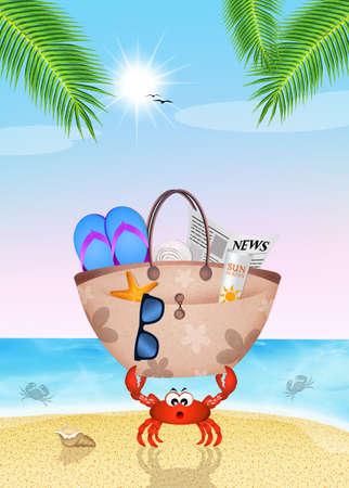 beach bag: crab with beach bag