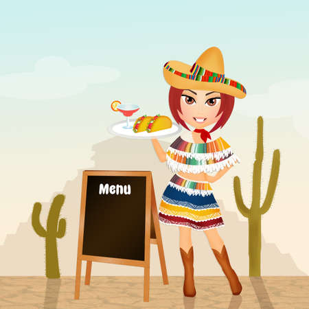 mexican food plate: girl with Mexican menu