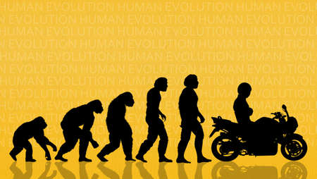 origen animal: la evolución humana con la motocicleta