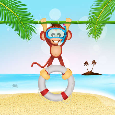lifebelt: monkey lifeguard with lifebelt