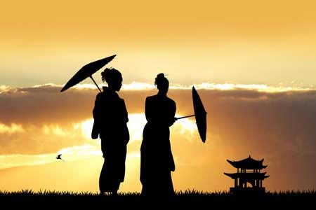 geisha: Geisha at sunset Stock Photo