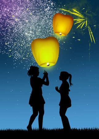 children with flying lanterns