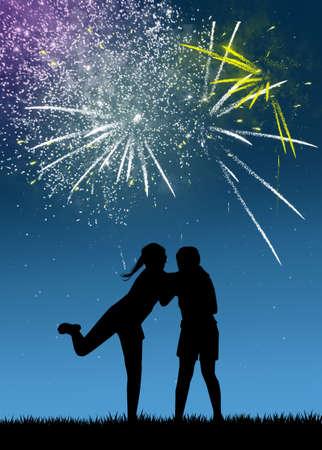 children watch the fireworks