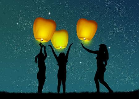 sky lantern: children with flying lanterns