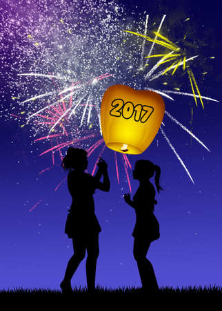 outdoor event: sky lantern for the new Year