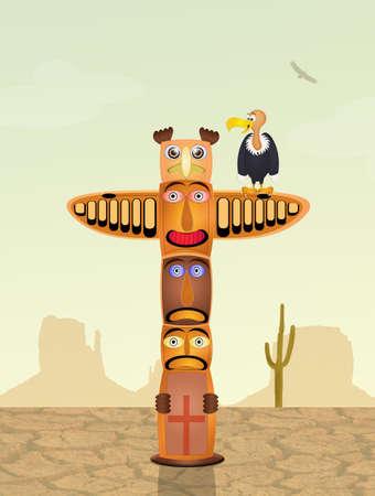 arid: vulture on totem in the desert
