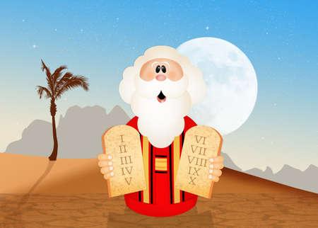 commandments: Moses with tables of the ten commandments Stock Photo