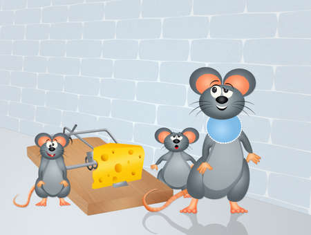 animal den: mouse and trap with cheese