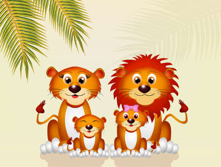 lioness: lions family Stock Photo