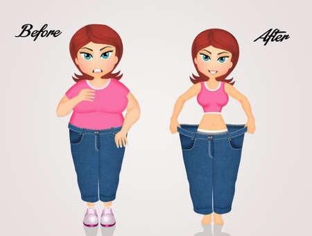 다이어트 전후의 여성