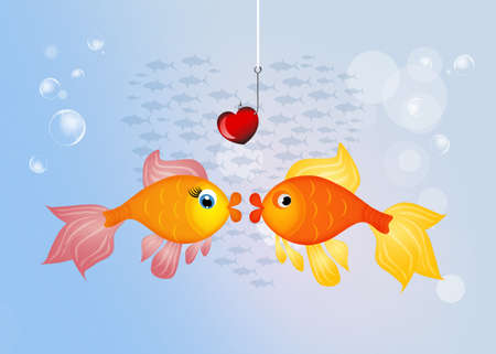 fishes: red fishes in love