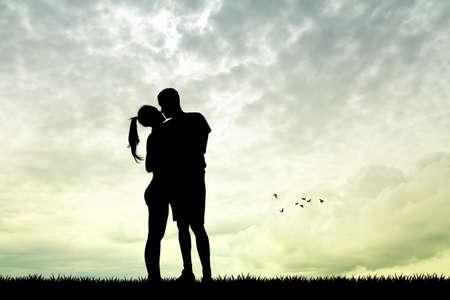 kissing: man and girl kissing at sunset