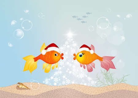 fishes: red fishes celebrate Christmas