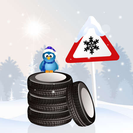 pneumatic: snow tires in winter Stock Photo