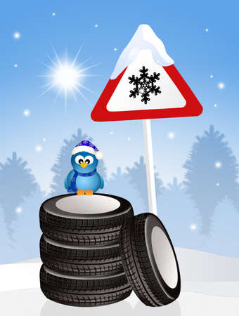 snow tires: snow tires in winter Stock Photo