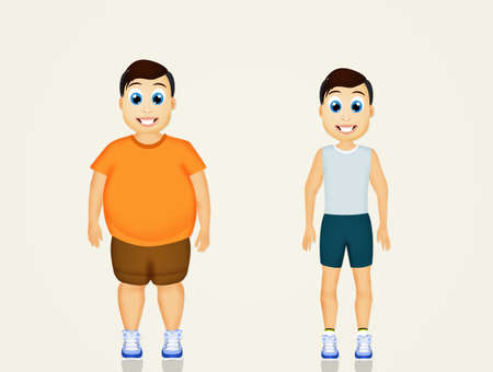 before: overweight man before and after sport Stock Photo
