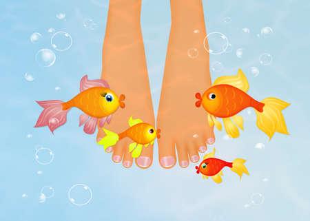 voet in het water met rode vissen Stockfoto