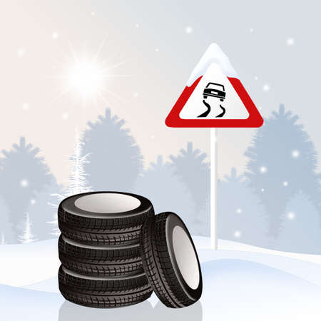 snow tires in the snow Stock Photo