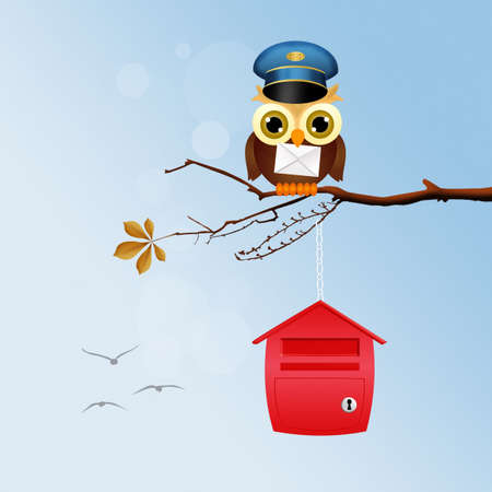 owl potman on branches Stock Photo