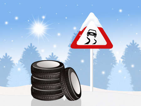 snow tires: snow tires in the snow Stock Photo