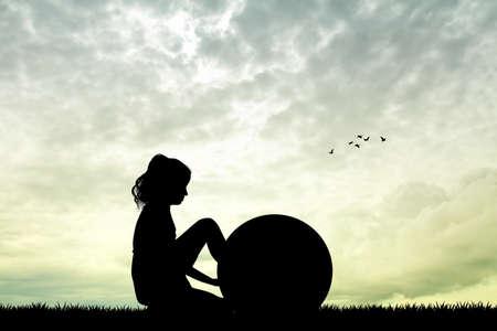 pilates ball: girl with pilates ball