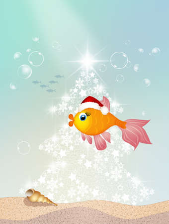 red  fish: red fish with Christmas hat Stock Photo