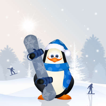 penguin with snowboard Stock Photo