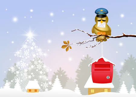bird postman with letter of Santa Claus