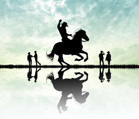gallop: Rodeo cowboy at sunset Stock Photo