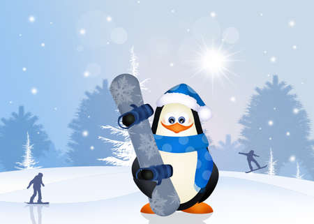 snowboard: penguin with snowboard Stock Photo
