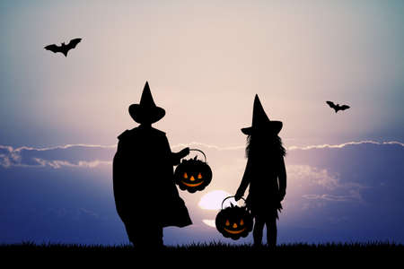 outdoor event: masked children for Halloween