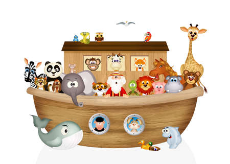animales en el arca de Noé Foto de archivo