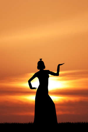 cleopatra: Cleopatra silhouette at sunset
