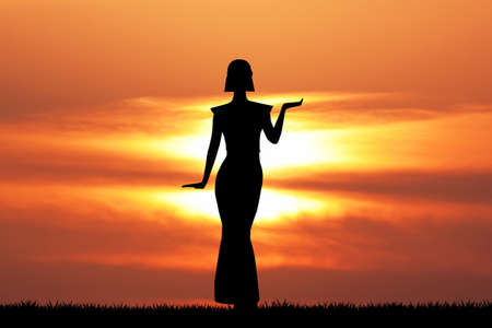 Cleopatra silhouette at sunset