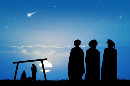 wise men: three wise men in the desert at sunset
