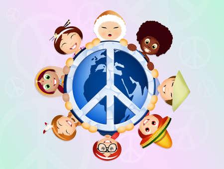 niños de diferentes razas: Solidaridad Foto de archivo