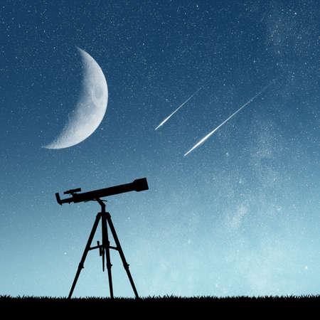 shooting stars: telescope and shooting stars Stock Photo