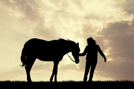 pet therapy: girl with horse silhouette at sunset