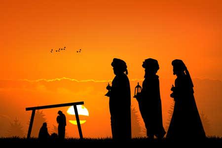 reyes magos: tres reyes magos en la puesta del sol