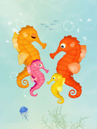 illustration of seahorses in the ocean Stock Photo