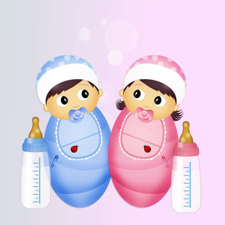bebés con biberón