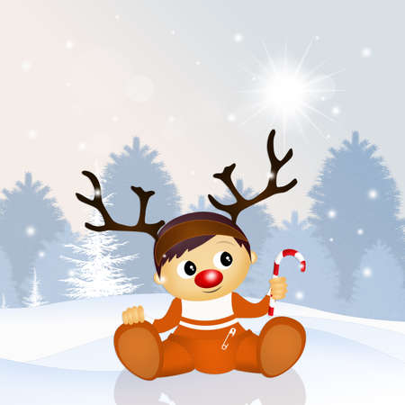 baby with reindeer horns at Christmas Stock Photo