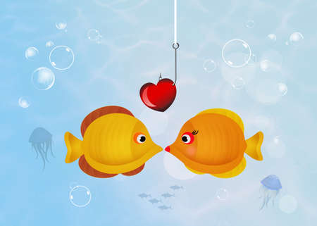 fishes: yellow fishes in love