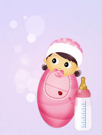 baby girl: girl with baby bottle